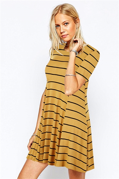 STRIPE SWING TEE DRESS - orangeshine.com