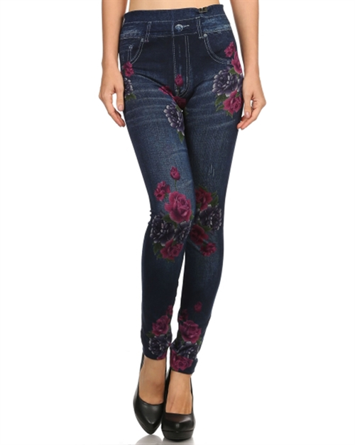 Floral Printed Jeggings - orangeshine.com