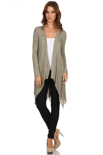 Solid Long Cardigan - orangeshine.com