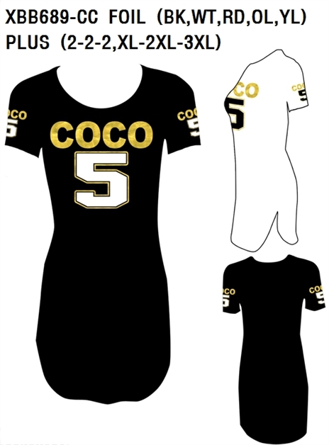 COCO 5 FOIL SEXY T-SHIRT DRESS - orangeshine.com