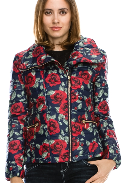 Flower  Quilted  Jacket - orangeshine.com