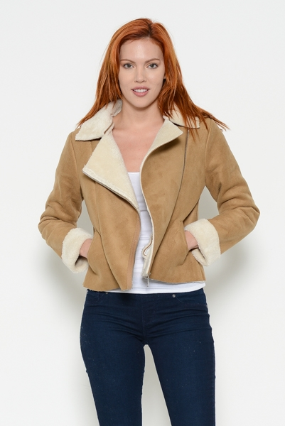 Suede Rider Jacket With Fur - orangeshine.com