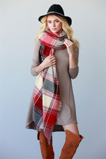 PLAID FRAYED OVERSIZE SCARF - orangeshine.com
