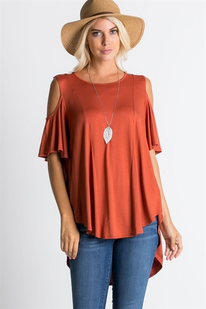 Cold shoulder high-low top  - orangeshine.com