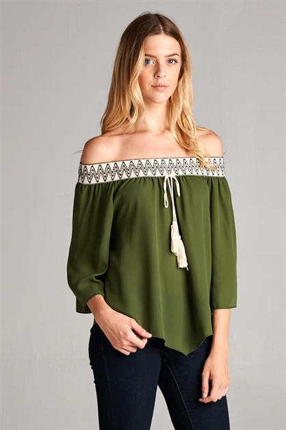 OFF SHOULDER SOLID PEASANT TOP - orangeshine.com