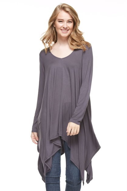 Shirred Uneven Hem Tunic - orangeshine.com