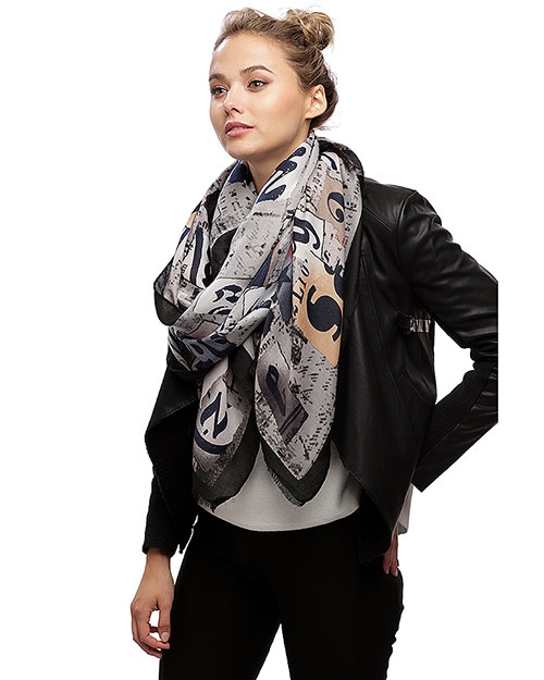 FASHION LETTER VISCOSE SCARF - orangeshine.com