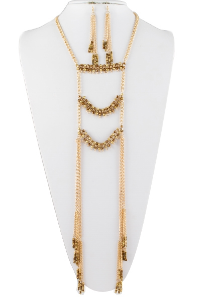 MIX CHAIN FRINGE NECKLACE SET - orangeshine.com