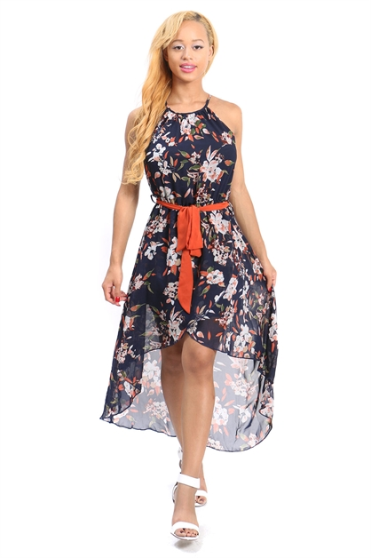 floral chiffon flowy dress - orangeshine.com