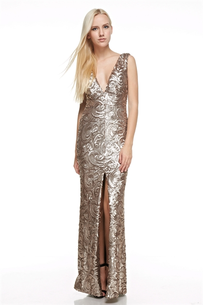 Sequins Maxi Dress with Slit - orangeshine.com