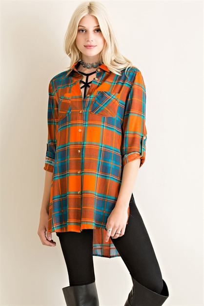 Plaid Button Down Top - orangeshine.com