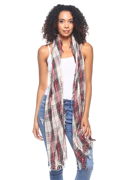 Multi Tone Plaid Print Scarf - orangeshine.com