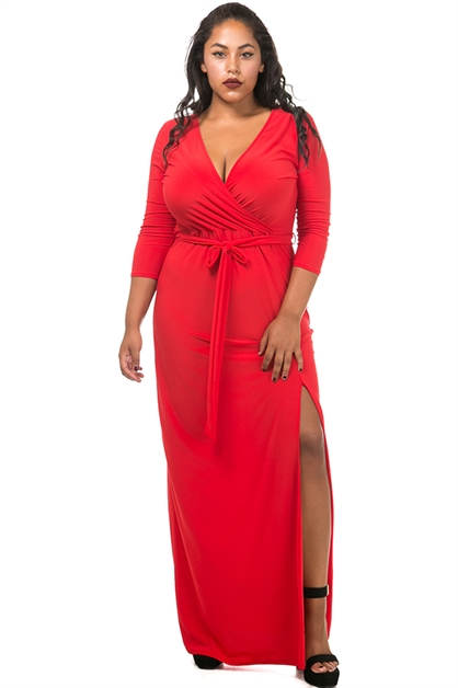 Side slit wrap dress - orangeshine.com