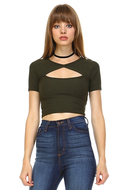 Melange cropped top - orangeshine.com