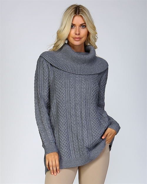 CHUNKY KNIT COWL NECK SWEATER - orangeshine.com