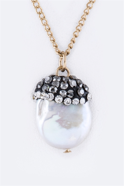 Pearl  Crystal Acorn Necklace - orangeshine.com