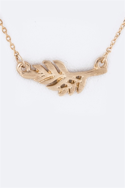 Petite Metal Feather Necklace - orangeshine.com