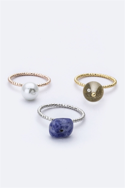 3 Tone Mix Stone Rings Set - orangeshine.com