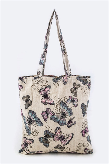 Butterfly Print Canvas Tote - orangeshine.com