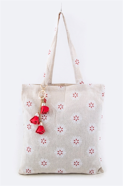 Floral Pattern Canvas Tote - orangeshine.com