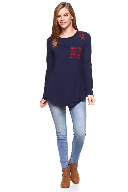 Long Sleeve Tunic Plaid - orangeshine.com