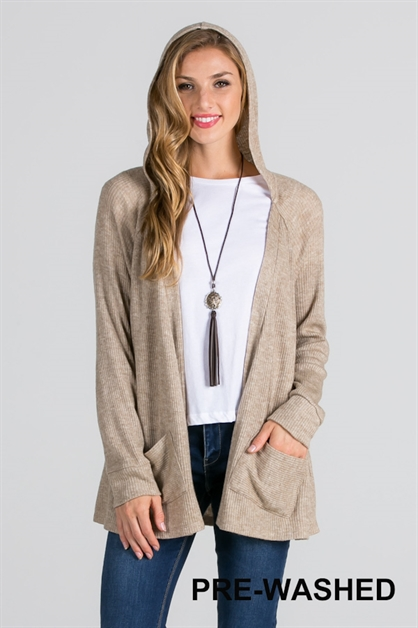 RIB KNIT HOODED CARDIGAN - orangeshine.com