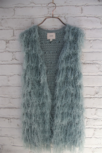 MIDIUM LENGTH  FUZZY FUR VEST - orangeshine.com