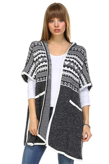 ETHNIC  SIDE SLIT HOODIE PONCH - orangeshine.com