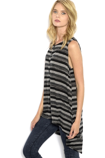 STRIPED KNIT TANK - orangeshine.com