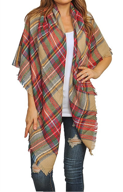 Blanket Plaid Scarf - orangeshine.com