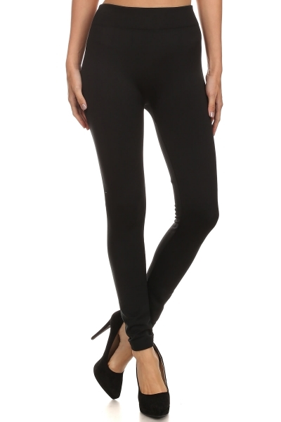 Solid Fleece Lined Leggings - orangeshine.com