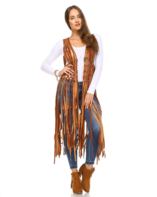 -Sleeveless Long-line Fringe Vest   - orangeshine.com