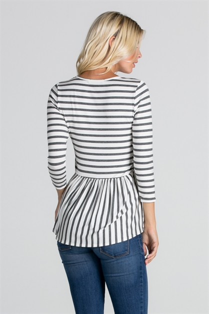 Striped Pleated Back Detail - orangeshine.com