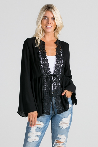 Cardigan with lace detail - orangeshine.com