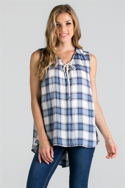 PLAID TOP WITH LACE-UP DETAIL  - orangeshine.com