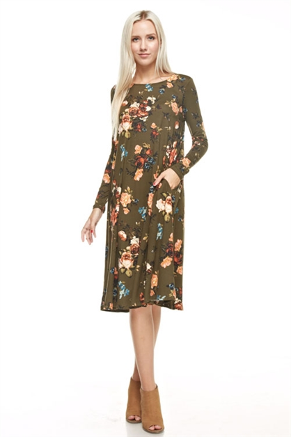 flared floral midi-long dress - orangeshine.com