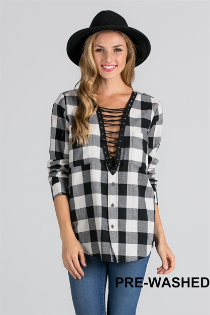 PLAID LACE UP TOP - orangeshine.com