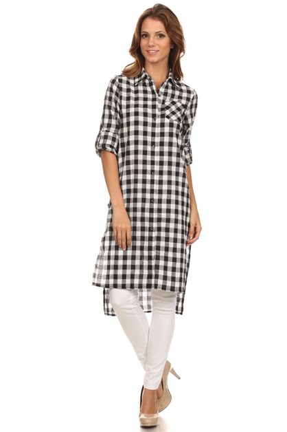 CHECKER LONG WOVEN TOP - orangeshine.com