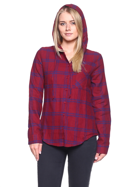 PLAID BUTTON UP HOODED TOP - orangeshine.com