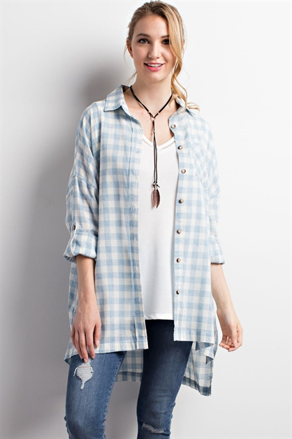 Over-sized Plaid Top - orangeshine.com