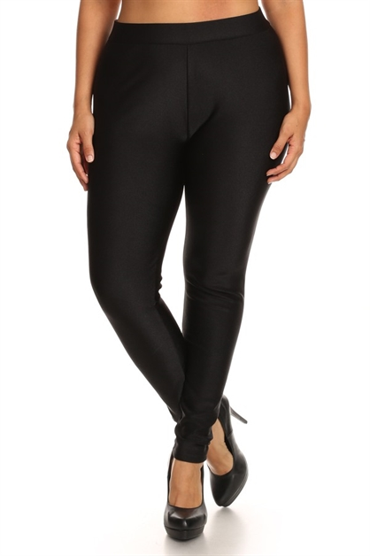 Plus Size Black Fleece Leggings - orangeshine.com