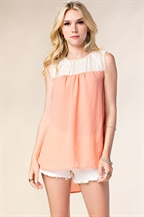 SHOULDER LACE CHIFFON TOP - orangeshine.com