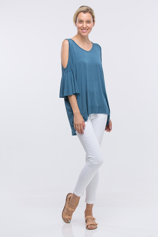 COLD SHOULDER SOFT MODAL TOP - orangeshine.com