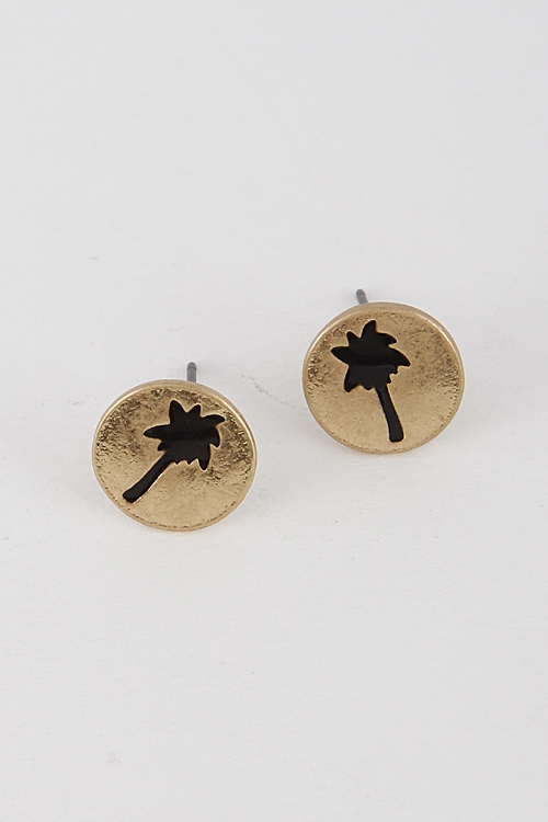 Palm Tree Stud Earrings - orangeshine.com