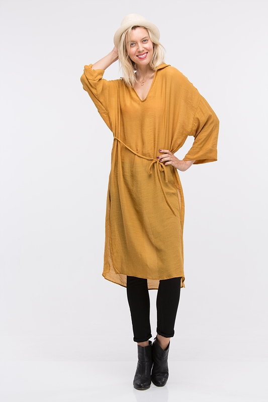 OPEN NECK WAIST BELT DRESS - orangeshine.com