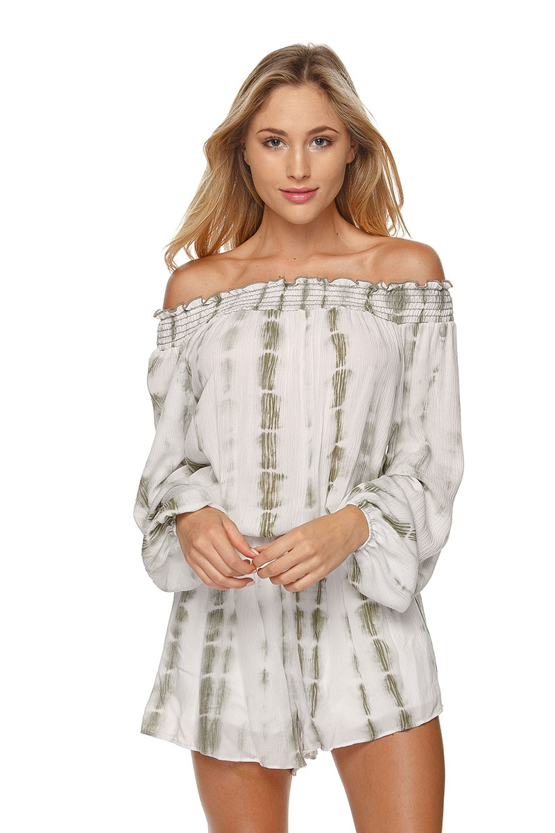 OFF SHOULDER TIE DYE ROMPER - orangeshine.com