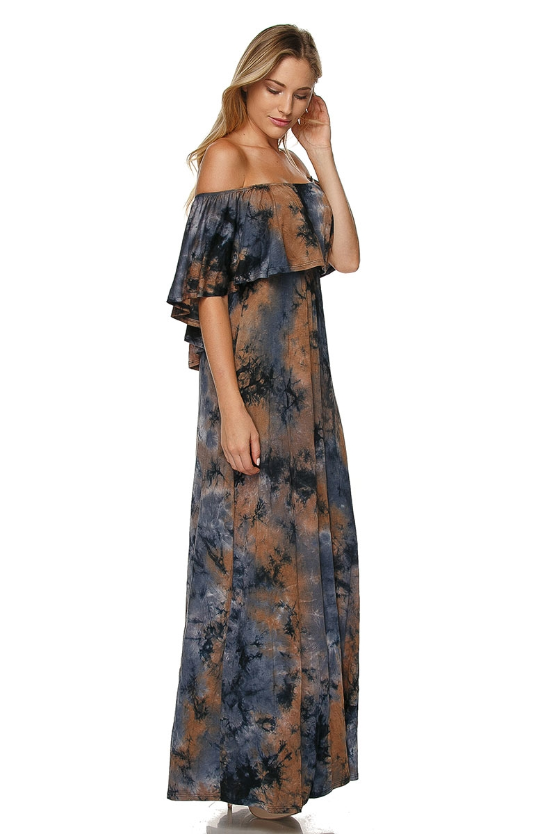 OFF SHOULDER TIE DIE DRESS - orangeshine.com
