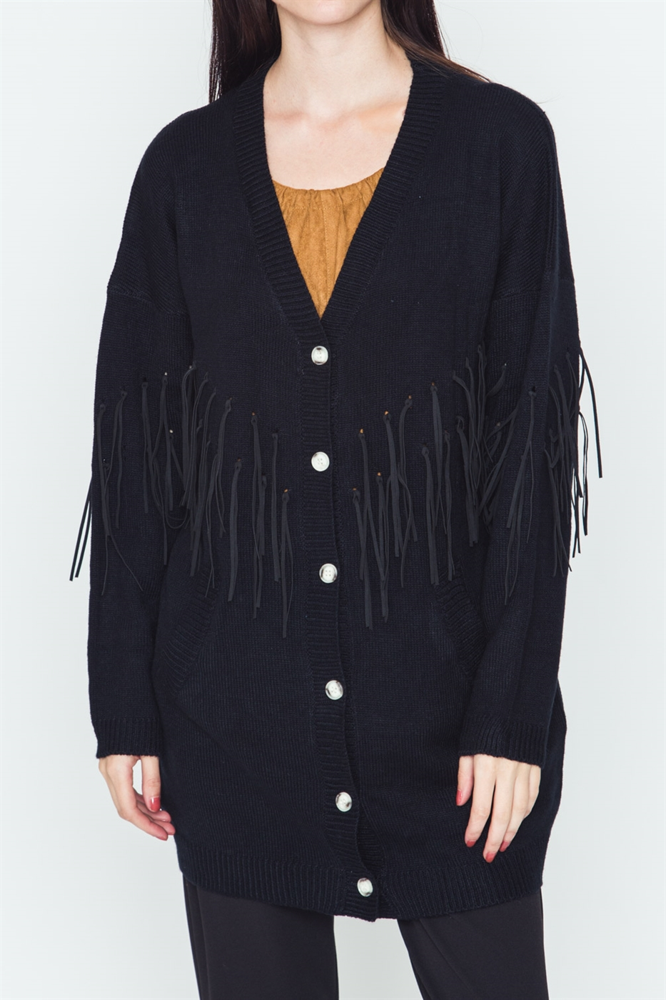 Fringe Detailed Sweater - orangeshine.com