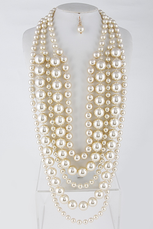 Faux Pearl Layered Necklace - orangeshine.com