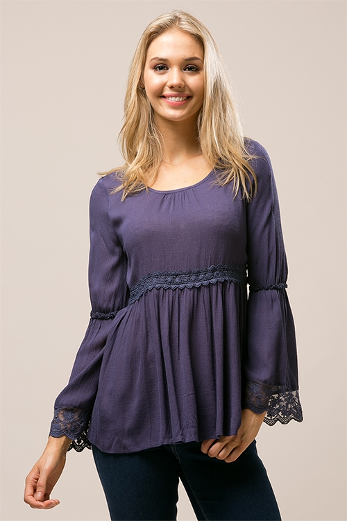 Babydoll tunic top with lace - orangeshine.com